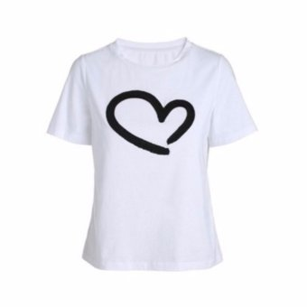 Buy 1 Take 1 Cotton Shirts With Heart Style Print - Black and White - 2