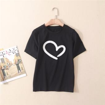 Buy 1 Take 1 Cotton Shirts With Heart Style Print - Black and White - 5