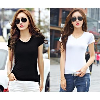 Buy 1 Take 1 Fashion Shirts Cotton V Neck for Women - Black and White