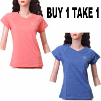 BUY 1 TAKE 1 Outperformer Cotton Rich V-Neck Shorts Sleeve (Coraland Heather Blue)