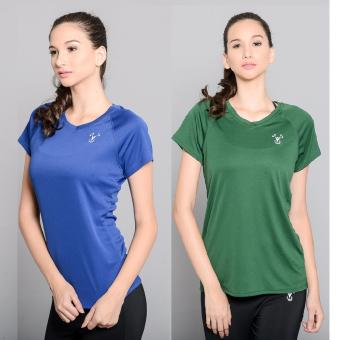 BUY 1 TAKE 1 Outperformer Running Cycling Fitness T-Shirt withExtra Stretch and Dryperform Technology (Royal Blue and Dark Green)