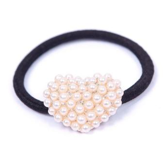BUYINCOINS Crystal Pearl Hearts HairBand (White)