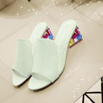 BUYINCOINS Sexy Peep-toe Summer New Fashion Women Shoes Thick WithDiamond Crystal Sandals Slippers EU:36-White - intl - 2