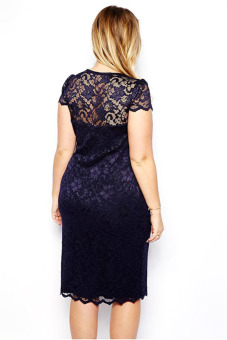 Buytra Floral Lace V-Neck Pencil Midi Dress (Navy Blue) - picture 2