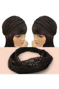 Buytra Lace Headband Wide Bandanas Coffee - picture 2
