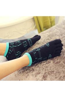Buytra Men's Toe Socks Five Fingers Geometric Patterns (Black)