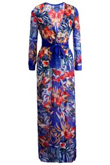 Buytra Summer Boho Chiffon Hippie Split Maxi Dress (Multicolor)