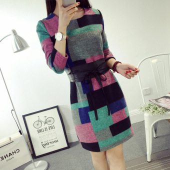 BYL long-sleeved round neck base skirt Korean-style plaid dress (Pink)