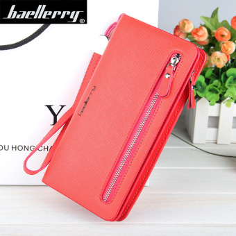 BYT Baellery Long Women Leather Zipper Wallet 201502 ( Red ) - Intl