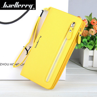 BYT Baellery Long Women Leather Zipper Wallet 201502 ( Yellow ) - Intl