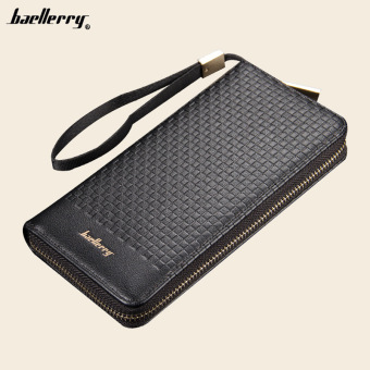 BYT Baellery Multifunctional Long Men Leather Wallet Handy Pouch6055 (Black)