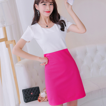 Caidaifei knitted spring and summer New style Plus-sized Korean-style short sleeved dress (Rose color) (Rose color)