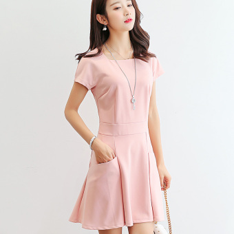 Caidaifei Korean-style female Slim fit slimming base skirt versatile dress (Pink)