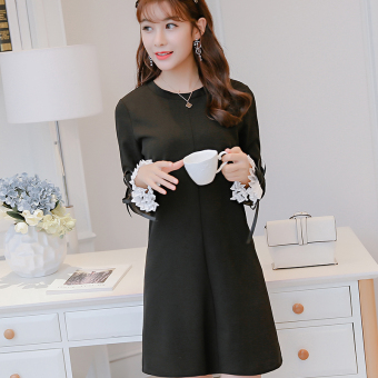 Caidaifei Korean-style knitted spring and summer New style Plus-sized dress