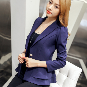 Caidaifei Korean-style New style Slim fit long-sleeved small suit jacket ( Dark