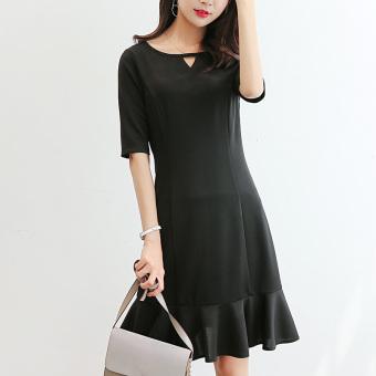 Caidaifei Korean-style Slim fit short sleeved slimming base dress (Black) (Black)