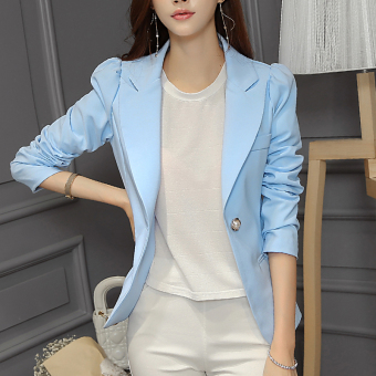 CALAN DIANA Women's Korean-style Casual Long Sleeve Blazer (Sky Blue)