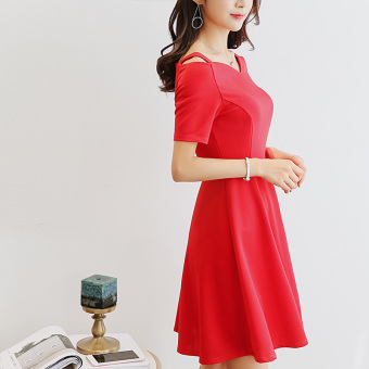 CALAN DIANA Women's Korean-style Leisure Solid Color Short Sleeve Dress (Red)