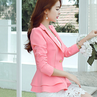 CALAN DIANA Women's Korean-style Long Sleeve Blazer (Pink R0138)