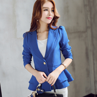 CALAN DIANA Women's Korean-style Long Sleeve Blazer (Sapphire blue color R0138)