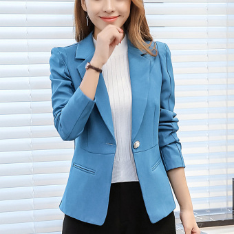 CALAN DIANA Women's Korean-style Slim Fit Long Sleeve Blazer (Sky blue color RRR93)
