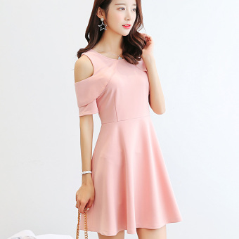 CALAN DIANA Women's Korean-style Solid Color Short Sleeve Dress (Pink)