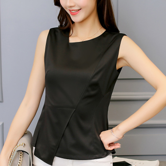 CALAN DIANA Womens Korean-style Slim Fit Sleeveless Shirt Black Women Clothing Tops Blouse Blouses Shirts