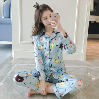 Can be Ni sexy silk female Spring and Autumn long-sleeved tracksuit viscose fibre pajamas (Sky blue color)