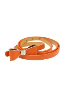 Candy Leather Skinny Butterfly Bow Waist Belt (Orange)