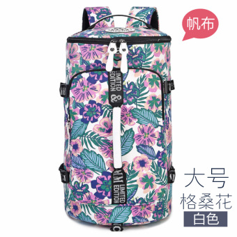 Canvas large capacity shoulder travel backpack (Gesang flower White large)