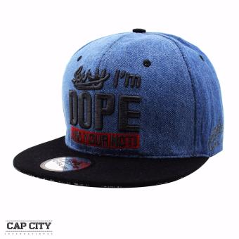 Cap City Hip-hop Snapback I'm Dope Denim Baseball Cap (BlueBlack)