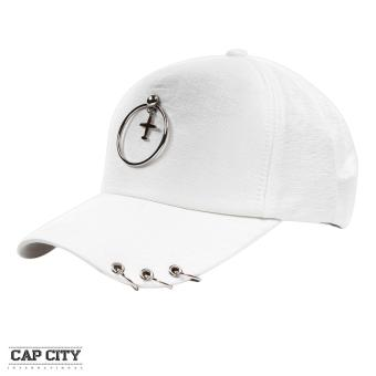 Cap City Korean Style with Hoop Plane Pendant and 3 Ring Pierce Design Baseball Cap (White)