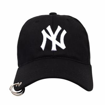 Cap City Korean Style with NY embroidery and 2 Ring Pirce Design Baseball Cap (Black) - 2