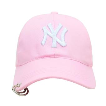 Cap City Korean Style with NY embroidery and 2 Ring Pirce Design Baseball Cap (Pink) - 2