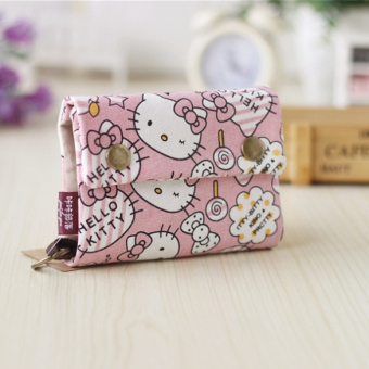 Cartoon canvas women's mini small wallet cute purse (Hello Kitty)