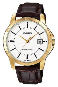 Casio Men's Brown Leather Strap Watch MTP-V004GL-7A