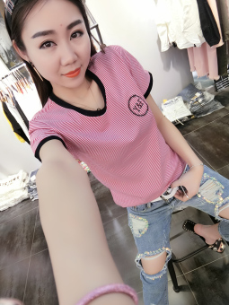 Casual embroidery New style Short sleeve fashion striped T-shirt (Red striped)