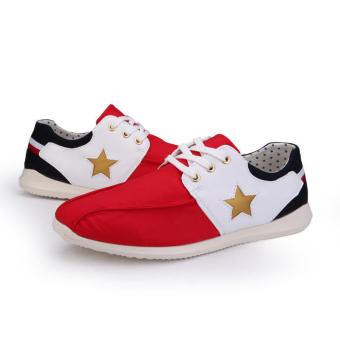 Casual Fashion Pentagram Sport Men Sneakers (Red) - picture 2