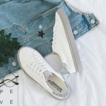 Casual Female Summer New style shoes white shoes (White gray)