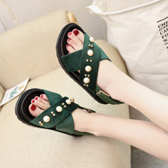 Casual flat thick bottomed muffin sandals (Green)