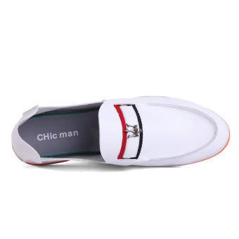 Casual Leather Driving Loafers - White - picture 4
