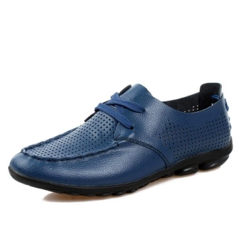 Casual Leather Fashion Loafers Shoes (Blue) - picture 2