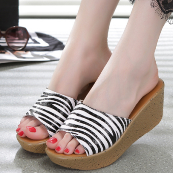 Casual muffin thick bottomed versatile slippers slanted heel slippers (Striped 004 striped)