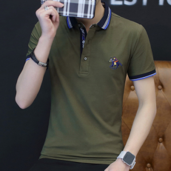 Casual solid color business Fold-down collar polo shirt men's T-shirt (Dark green color)