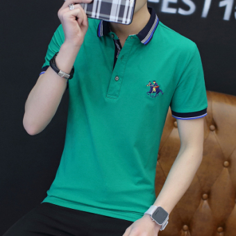 Casual solid color business Fold-down collar polo shirt men's T-shirt (Grass green color)