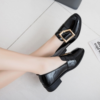 Casual spring New style square head shoes (Black (patent leather))