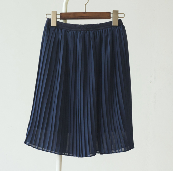 Casual student fold mid-length chiffon pleated skirt (Sapphire blue color) (Sapphire blue color)