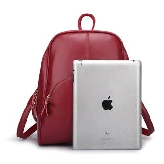 Casual Women PU Leather Backpack School Bag (Red) - intl - 5