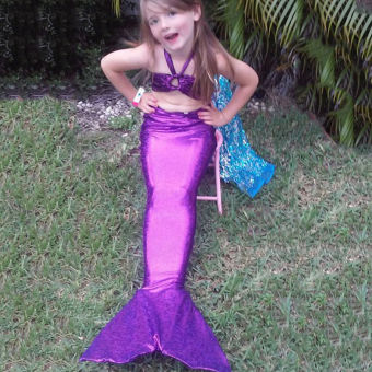 CatWalk 3PCS Girl Kids Mermaid Tail Costume Swimsuit Bikini Set3-8Years (Purple) - 2