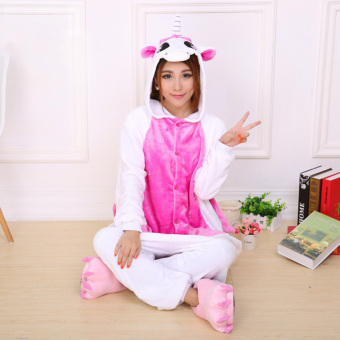 CatWalk Unicorn Adult Unisex Pajamas Cosplay Costume OnesieSleepwear S-XL (Pink)